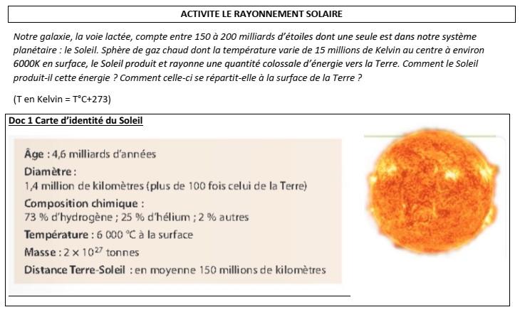 """Activité """"Le rayonnement solaire"""" partie 3"""