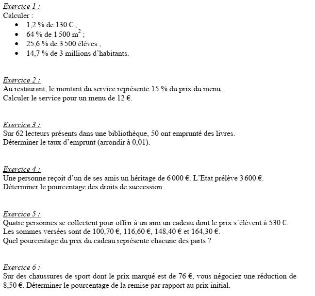 Fiche d'exercices n°1 sur les pourcentages, exercices n°1 à 6