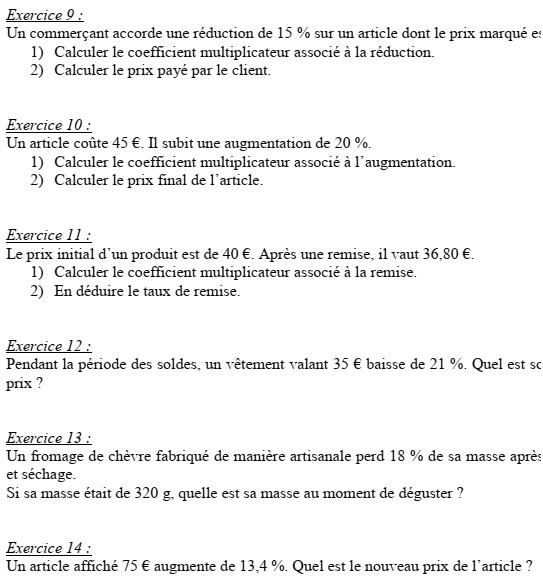 Fiche d'exercices n°1 sur les pourcentages, exercices n°9 à 14